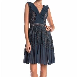 French Connection teal pleated dress